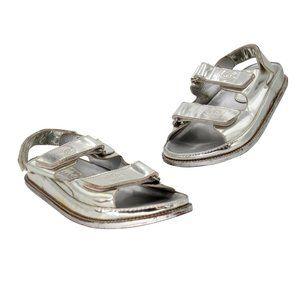 Chanel Patent Leather Canvas Cc Strap Dad Sandals